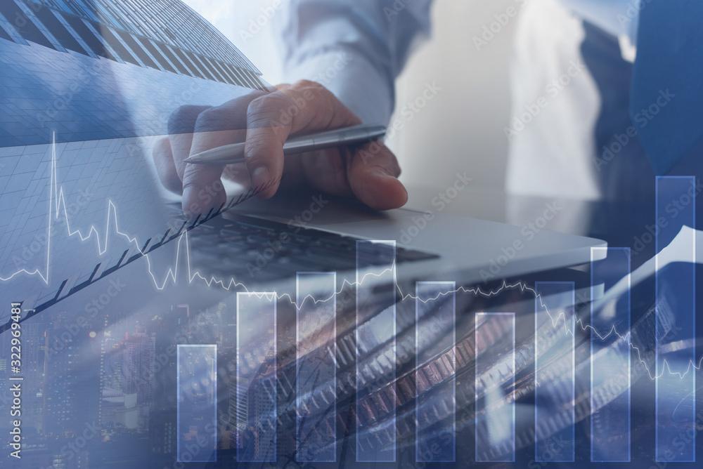 Fototapeta Finance investment, real estate business concept