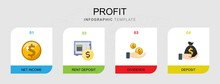 4 Profit Flat Icons Set Isolated On Infographic Template. Icons Set With Net Income, Rent Deposit, Dividends, Deposit Icons.