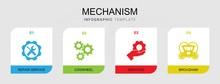 4 Mechanism Filled Icons Set I...