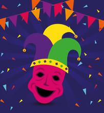 Mardi Gras Mask With Hat Desig...