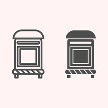 Mailbox Line And Glyph Icon. Mail Postage Letterbox. Postal Service Vector Design Concept, Outline Style Pictogram On White Background, Use For Web And App. Eps 10.