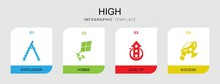 4 High Filled Icons Set Isolat...
