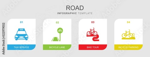 Fotografie, Obraz 4 road filled icons set isolated on infographic template