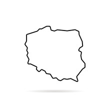 Black Thin Line Poland Map With Shadow