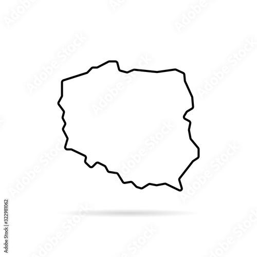 czarna cienka linia polska mapa z cieniem