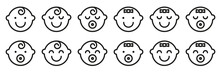 Set Baby Face Simple Icons. Va...