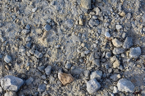 A close view of the rock and pebble ground surface.