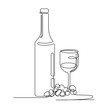 Vintage linear design template with one line botle of wine, glass and grape for decoration design.