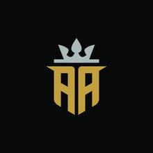 Initial Letter AA With Shield King Logo Design
