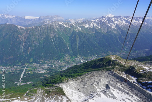 Fototapeta Aerial view of the Chamonix Valley and Massif du Mont Blanc in France obraz