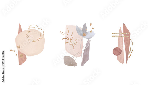Fototapeta Geometric poster with watercolor, gold and marble elements on white background