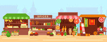 Eastern Bazaar, Street Market Flat Vector Illustration. Empty Arabic Marketplace Panorama With Stalls And No People. Fresh Fruits, Spices, Ceramics And Rugs Sale Stands With No Merchants.