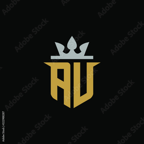 Initial Letter AU with Shield King Logo Design Canvas Print