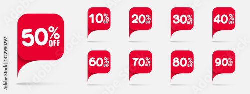 Photo Sale tags set vector badges template, 10 off, 20 %, 90, 80, 30, 40, 50, 60, 70 percent sale label symbols, discount promotion flat icon with long shadow