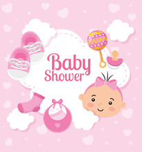 Baby Shower Card With Cute Little Girl And Decoration Vector Illustration Design