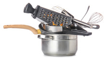 Dirty Empty Kitchenware On Whi...