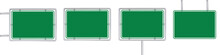 Set Of 4 Blank Green Road Sign Isolated On White Background