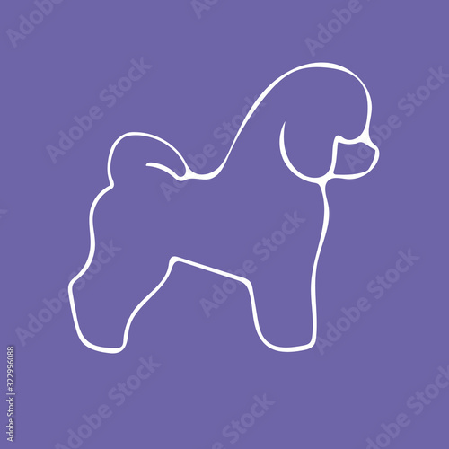 Bichon Frise Dog silhouette and breed name on violet background Wallpaper Mural
