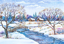 Watercolor Painting: Russian Winter Village Landscape With River And Wooden Bridge