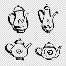Set Of Coffee Pots And Teapots Of Different Shapes And Sizes Painted With Brush In Thick Paint Strokes Isolated On Imitation Transparent Background