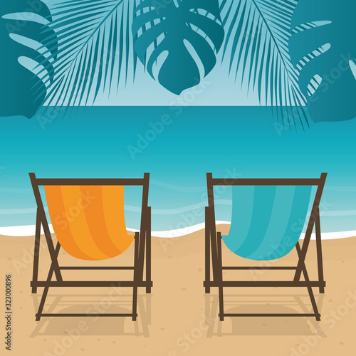Vászonkép two deck chairs on the palm beach summer holiday vector illustration EPS10