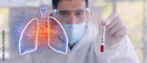 Fotografía double exposure of coronavirus covid-19 infected blood sample in sample tube in
