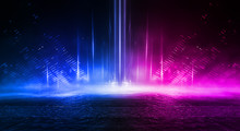 Empty Stage, Blue And Pink, Purple  Neon, Abstract Background. Rays Of Searchlights, Light, Abstract Tunnel, Corridor. Dark Futuristic Background, Smoke, Smog.