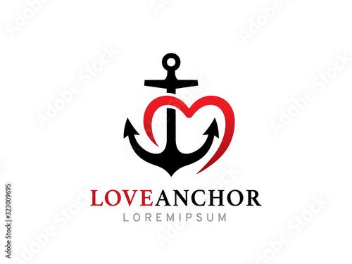 Foto Love anchor logo template design, icon, symbol