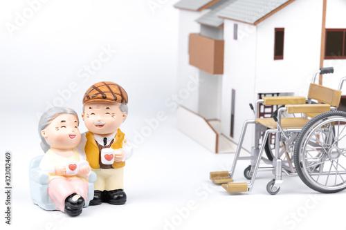 Fototapeta 老夫婦 バリアフリー 車椅子
