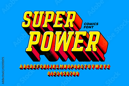 Fotografia Super Power comics style font, alphabet letters and numbers