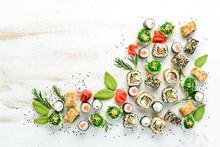 Set Of Tasty Sushi And Maki Ro...