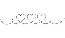 Three Heart Line Draw On White...