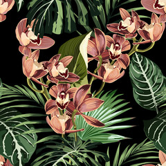 Fototapeta Egzotyczne Tropical beautiful flowers pretty pattern. Seamless cute orchids and tropical palm leaves background. Use for textile, dress, wallpaper, home design.
