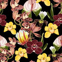 Fototapeta Egzotyczne Watercolor style yellow, brown, bordo orchid flowers seamless pattern. Decorative background in rustic boho style for wedding invite, fabric.