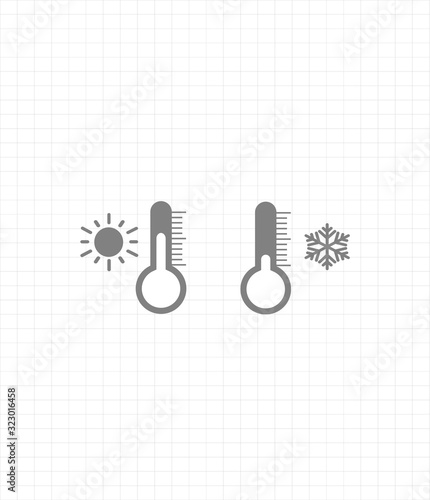 Photo Gray vector icon set thermometers with weather - cold weather and warm weather