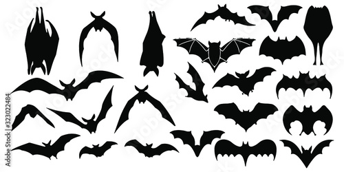 Billede på lærred Horror black bats group isolated on white vector