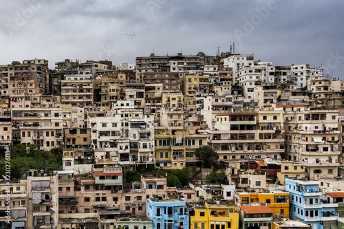 High angle view of the old buildings in Tripoli, Lebanon on a gloomy day