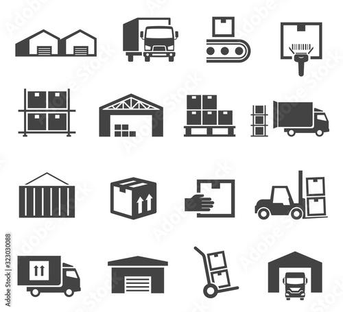 Fototapeta Warehouse and storage industry icon business set obraz