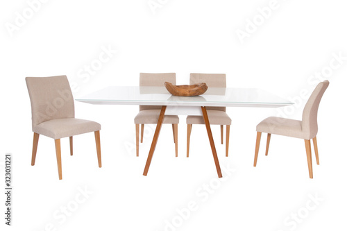 Fototapeta Wooden modern Table on white background.