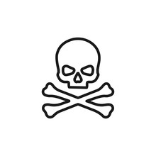 Skull Line Simple Icon, Outline Vector Sign, Linear Style Pictogram Isolated On White. Favorite Symbol, Logo Illustration. Editable Stroke. Pixel Perfect Vector Graphics
