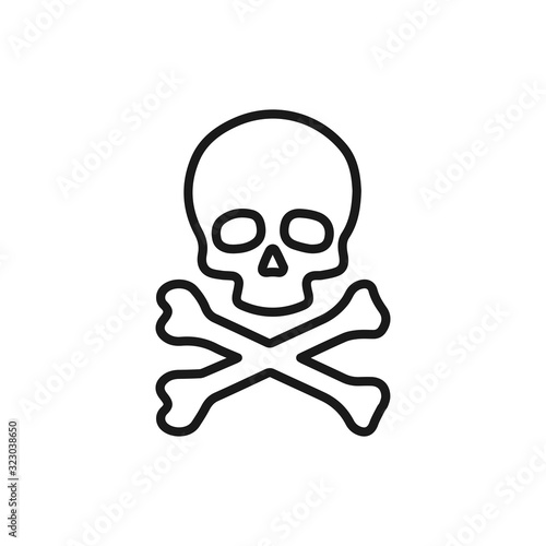 фотография Skull line simple icon, outline vector sign, linear style pictogram isolated on white