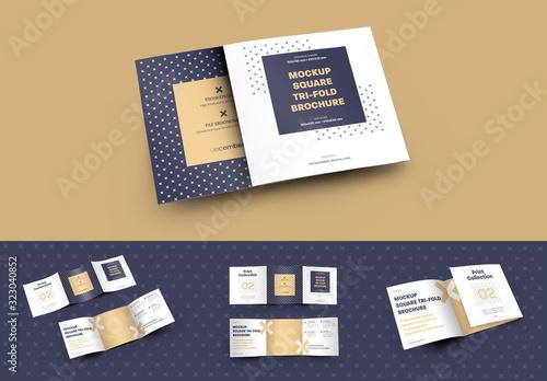 Fototapeta 5 Mockup Set Square Tri-Fold Brochures obraz
