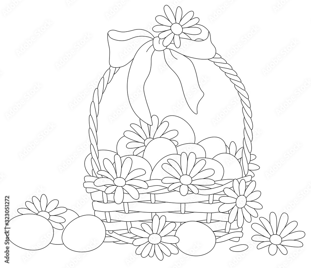 Fototapeta Easter wicker basket with a bow, flowers and painted eggs, black and white vector cartoon illustration for a coloring book page
