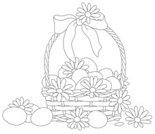 Easter Wicker Basket With A Bow, Flowers And Painted Eggs, Black And White Vector Cartoon Illustration For A Coloring Book Page