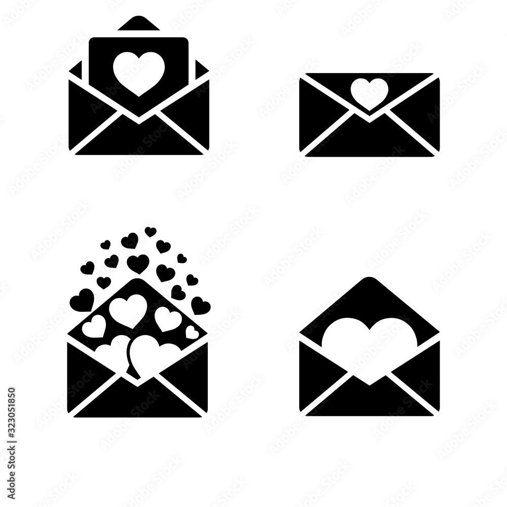Valokuva Valentines day love mail icon