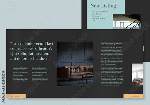 Fototapeta Dark Gray Brochure Layout with Orange and Teal Accents obraz
