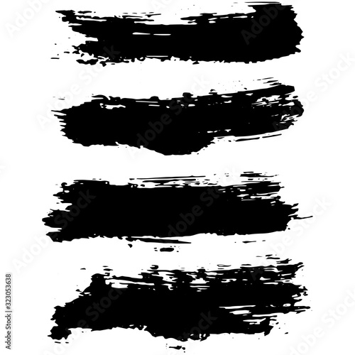 Fototapeta Black brush stroke set isolated on white background. Trendy brush stroke for black ink paint, grunge splash, dirt banner, watercolor design and dirty texture. Creative art concept, vector illustration obraz na płótnie