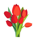 Festive Vector Illustration With Branches Of Tulip Flowers And Green Leaves. Bouquet Of Red Tulips Isolated On White. Floral Spring Design. Greeting Card Template With Empty Place For Text. Womens Day