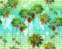 Watercolor Miami Palms Seamless Background, Tropical Pattern
