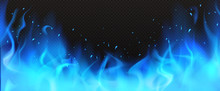 Realistic Blue Fire Border, Burning Flame With Sparkles Isolated On Dark Black Background. Bonfire Blaze Glowing Effect, Shining Magic Flare Frame Design Element 3d Vector Illustration, Clip Art